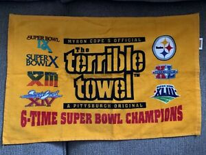 RARE PITTSBURGH STEELERS SIX TIME SUPER BOWL CHAMPION TERRIBLE TOWEL DYED LOGOS