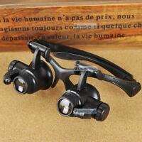 10/15/20/25X LED Eye Glasses Magnifier Jeweler Watch Repair Magnifying Loupe FF