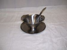 Vintage MONARCH Gravy Boat & Ladle 18/8 Stainless Steel Attached Under-plate