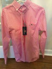 NWT VINEYARD VINES MEN LS CLASSIC FIT TUCKER SHIRT-Size Medium-M-Pink-White