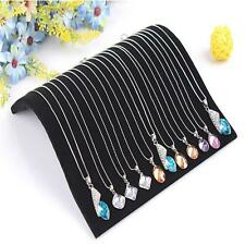 Black Velvet Necklace Chain Pendant Display Jewelry Organizer Stand Holder IG