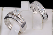 Engagement Ring Set 925 Sterling Silver His and Hers Princess Cut Wedding