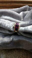 Unusual Design Three Stone  Rhodolite Garnet   Ring--Size 6 3/4