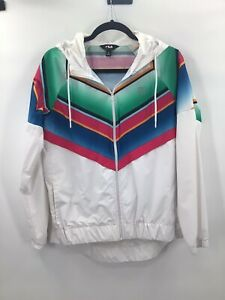 Fila Sport Women's SZ M Colorful Stripe Full Zip Hooded Windbreaker Jacket