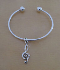 Sterling Silver Screw End Torque Bangle 63 mm & 2.5 mm Thick & Treble Clef Notes