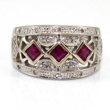 14K White Gold Natural Ruby Diamond Band Ring Size 7.5  ZQ2