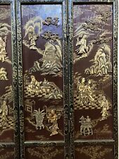 Vtg Asian Tabletop Screen, Hand Painted & Carved Figures, Excellent, Free Ship