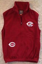 Cincinnati Reds Mlb Baseball Sports Cutoff Zip Up Fleece Vest Adult Small