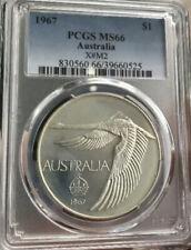 💰1967 Aust. Swan Goose Dollar, PCGS MS66 Milled Edge Coin & Case (aGEM UNC)