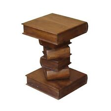SQUARE BOOK SIDE TABLE LAMP/PLANT STAND H:53CM LISBON RANGE SOLID ACACIA WOOD