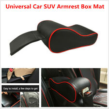 Car SUV Armrest Box Mat PU Leather Console Pad Red Line Cushion Cover+ Bag Black