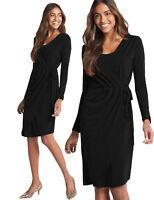 MARKS AND SPENCER ASYMMETRIC LONG SLEEVE WRAP MIDI DRESS M&S COLLECTION