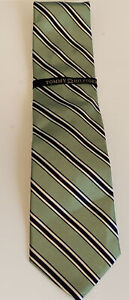 New Tommy Hilfiger Green And Navy Blue Stripes Silk Necktie