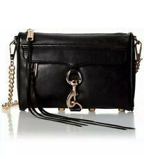 New Rebecca Minkoff Mini Mac Convertable Crossbody Black Rose Gold