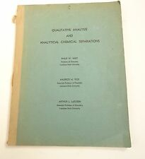 Qualitative Analysis Chemistry Book Original Manuscript Print 1950s Academic
