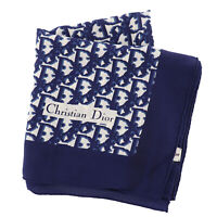 Christian Dior Trotter 100% Silk Scarf Square Navy Japan Vintage Auth #UU312 S