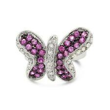 Levian 14K белое золото Розовый сапфир и бриллиант драгоценный камень бабочка коктейльное кольцо