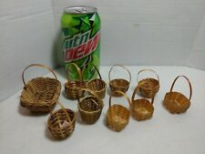 MINI BASKETS LOT OF 10 DOLL EASTER PARTY CRAFTS WOVEN WICKER HOBBY