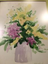Vintage Original Watercolor Floral Art Picture Framed and Signed M. Wilkinson