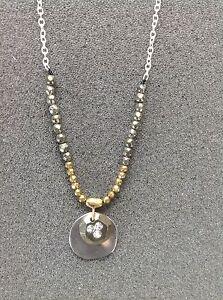 "SILPADA - N3103 - Brass Cubic Zirconia Strlng Slvr ""Earn Your Stripes"" Necklace"