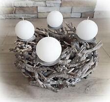 ❀ Adventskranz Rustikal Äste Grau 38m Weiß Kerzenleuchter Kranz Holz Advent KR
