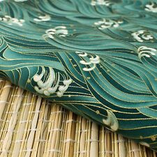"Green ""Waves"" Japanese Oriental Fabric Cotton Fat Quarter FQ #F0042"