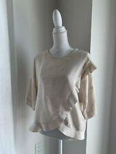 Isabel Marant Etoile Ecru Textured Silk Flounce Top Blouse SZ 36 S
