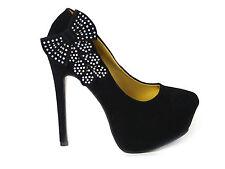 mujer Zapatos de salón pedrería elegante punta abierta tacones Boda Nupcias