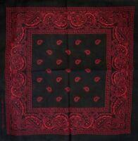 1x 100% cotton bandana, Colour black and red Paisley Bandana (55cm x 55cm)