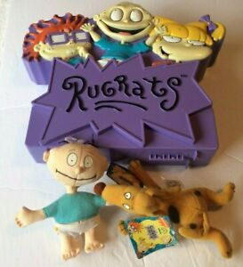 VINTAGE Case & Spike the dog & Tommy 7 inch mini plush, Rugrats Nickelodeon;1997