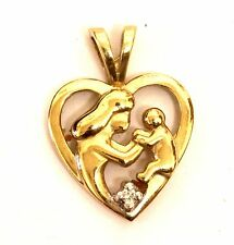 10k yellow gold .01ct SI1 H diamond heart mother child charm pendant 1g estate
