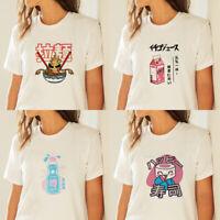 Harajuku Women Japanese Food Print T Shirt Funny Tee Crew Neck White Tops Summer