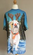Mens H&M Christmas Boxer Dog Tree Snow T Shirt Size Small