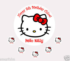 "HELLO KITTY CAKE TOPPER PARTY PERSONALISED  ICING SUGAR 7.5"" RED"