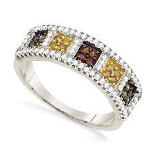 10K White Gold Diamond Band Square Cluster Multi Color diamond Ring .50ct