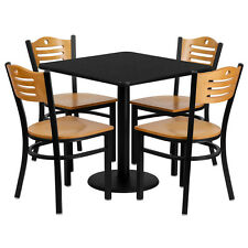 Restaurant Table Chairs 30'' Square Black Laminate with 4 Wood Slat Back Metal