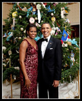 Barack Obama Michelle Christmas Photo 8X10 - President Democrat Portrait