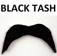 AÑOS 70 1970s Disfraz Bigote autoadhesivo bigote Vaquero Mexicano Negro NUEVO