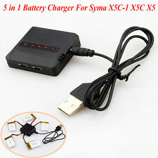 3.7V 5 in 1 Lipo Battery USB Charger Adapter for Syma X5 X5C X5C-1 RC Quadcopter