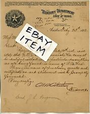 1892 lettehead Austin Texas TREASURY DEPARTMENT State Treasurer W B Wortham sig