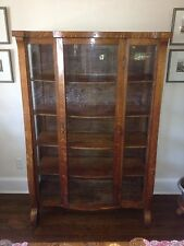 Beautiful Antique Oak China Cabinet Curved Glass Front, Ca 1900  62