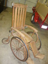 ANTIQUE WHEEL CHAIR -WOOD-LADDER BACK,