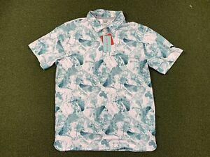 Puma Cloudspun Leaves Golf Polo Shirt Floral White Deep Teal SZ M ( 532115 01 )