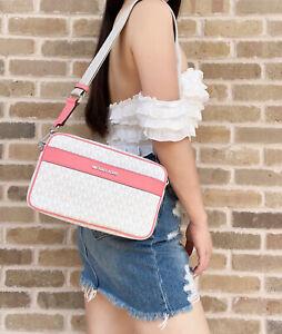 Michael Kors Kenly Large Pocket Crossbody Messenger Bag White MK Grapefruit Pink
