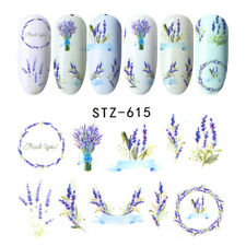 Nail Art Water Decals Stickers Transfer Dried Flower Effect Floral Lavender 615W