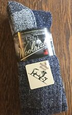 Men's Woolrich Wool Socks 2 Pack Thick Soft Merino Navy Size 9 - 12 Made in USA