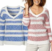 Women's V Neck Striped Jumper UK PLUS Size 6-16 Ladies Sweater - Blue or Coral