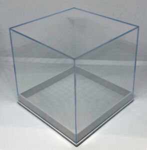 CLEAR PERSPEX CUBE BOX 80mm Acrylic Shop Display Stand Plastic Base RETAIL CASE