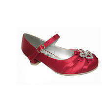 BUY GIRLS KIDS SPARKLY RED SATIN PARTY BRIDESMAID WEDDING PROM DRESS SHOES 6-3