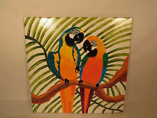 Large Handpainted Parrots Tropical Paradise Ceramic Tile Artist Signed A Talbot